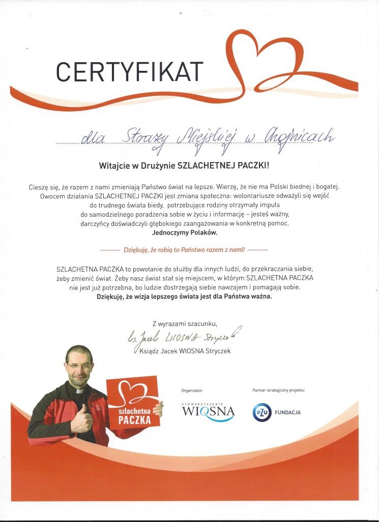 Certyfikar - SZLACHETNA PACZKA